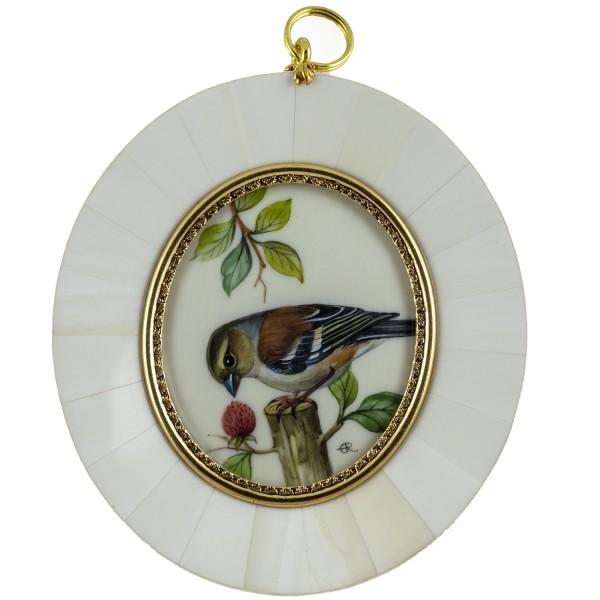 Miniatur-Rahmen mit Malerei Bildgröße 5x6 cm Buchfink Weibchen