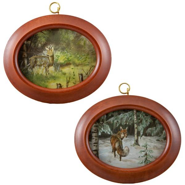 2 Miniatur-Rahmen mit Malereien Bildgröße 7x9 cm Reh u. Fuchs