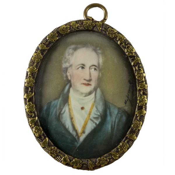 Miniatur-Rahmen mit Malerei Bildgröße 4x5 cm Goethe
