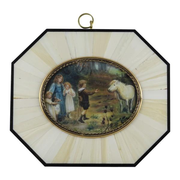 Miniatur-Rahmen mit Malerei Bildgröße 7x9 cm Außenmaß 14x12 cm Die Anlockung