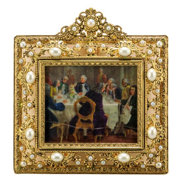 Miniatur-Rahmen mit Malerei Bildgröße 5x6 cm Außenmaß 10x11 cm