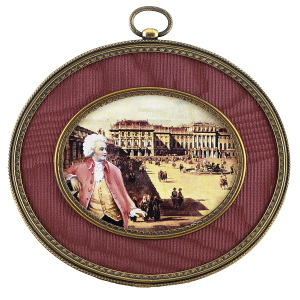 Miniatur-Rahmen mit Kunstdruck Bildgröße 7x9 cm Mozart in Wien