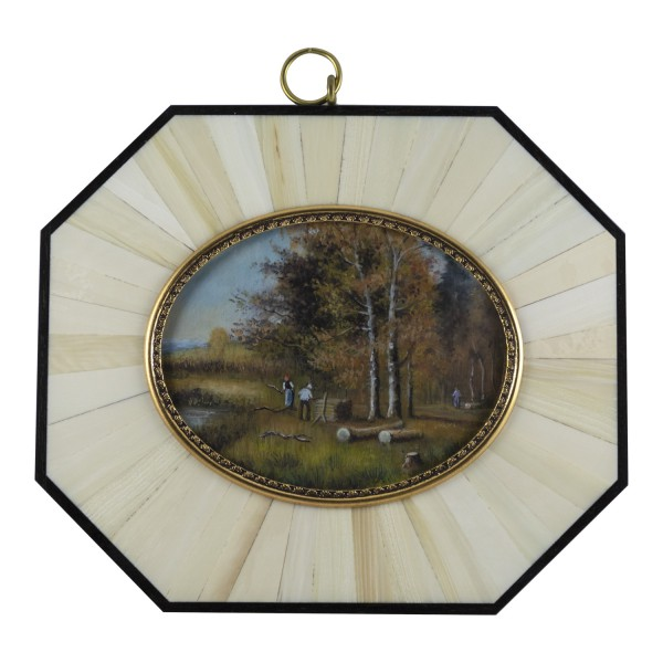 Miniatur-Rahmen mit Malerei Bildgröße 7x9 cm Außenmaß 14x12 cm Herbstimmung