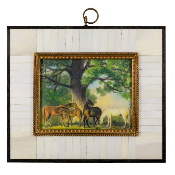 Miniatur-Rahmen mit Malerei Bildgröße 7x9 cm außen 12x11 cm