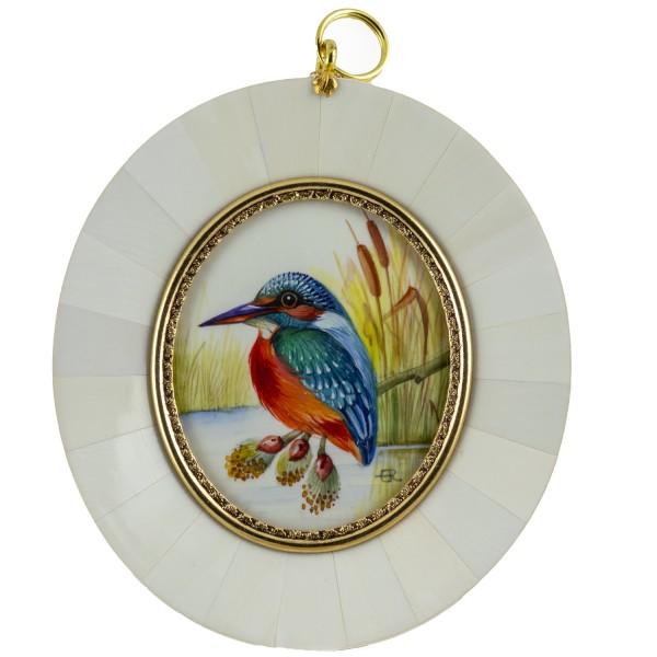 Miniatur-Rahmen mit Malerei Bildgröße 5x6 cm Eisvogel