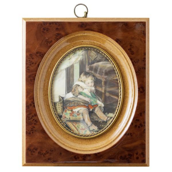 Miniatur-Rahmen mit Malerei Bildgröße 7x9 cm