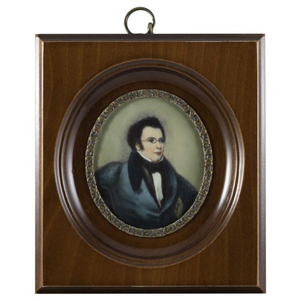 Miniatur-Rahmen mit Malerei Bildgröße 5x6 cm außen10x11cm Franz Schubert