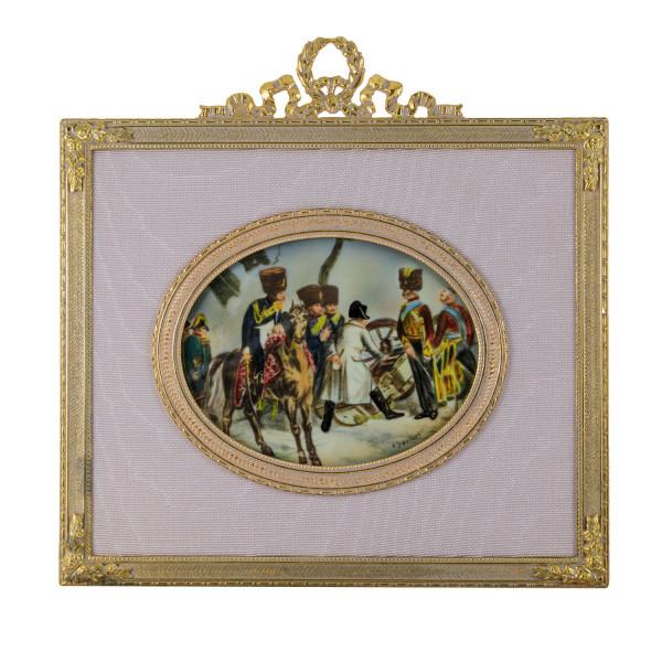 Miniatur-Rahmen mit Malerei Bildgröße 7x9 cm außen 13x12 cm