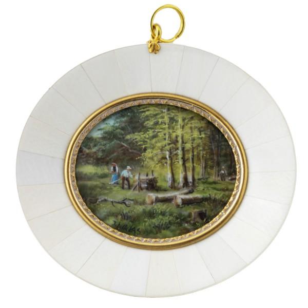 Miniatur-Rahmen mit Malerei Bildgröße 5x6 cm