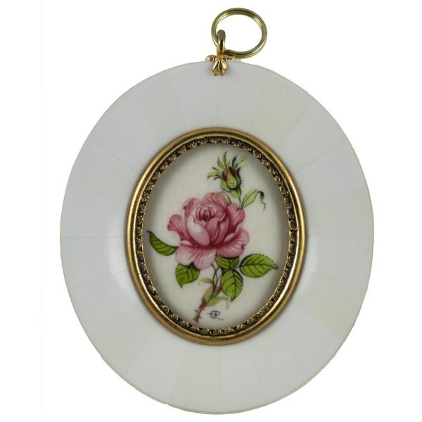 Miniatur-Rahmen mit Malerei Bildgröße 4x5 cm außen 8x9 cm dunkel purpur Rose