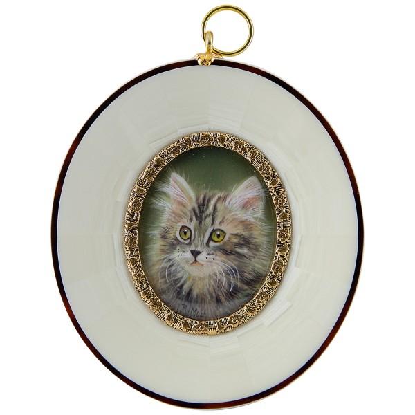 Miniatur-Rahmen mit Malerei Bildgröße 4x5 cm Kätzchen