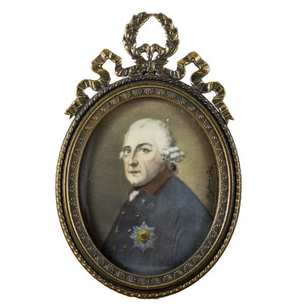 Miniatur-Rahmen mit Malerei Bildgröße 4x5 cm König Friedrich der Große