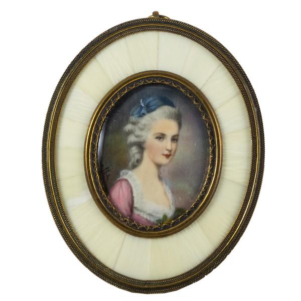 Miniatur-Rahmen mit Malerei Bildgröße 4x5 cm Const. Weber Mozarts Braut