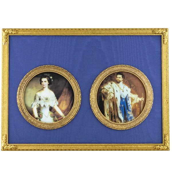 Miniatur-Doppel-Rahmen mit 2 Kunstdrucken Bildgröße 6 cm rund