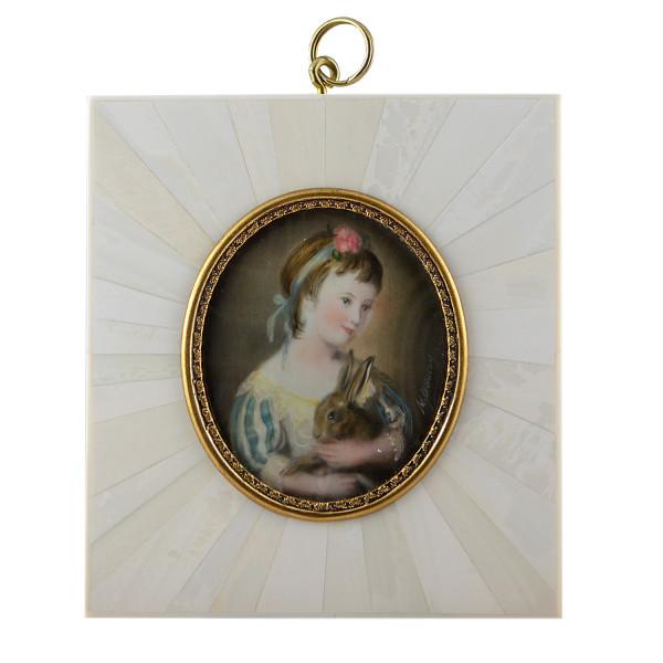 Miniatur-Rahmen mit Malerei Bildgröße 5x6 cm außen 9,5x10,5 cm