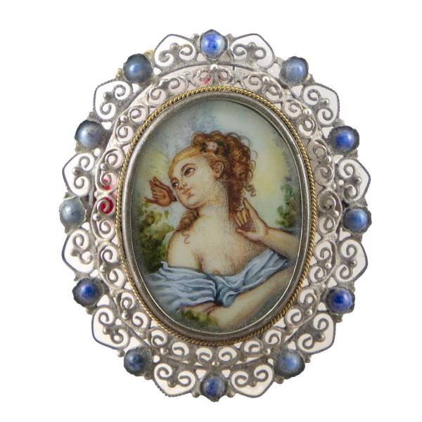Miniatur-Brosche mit Malerei Bildgröße 2x3 cm