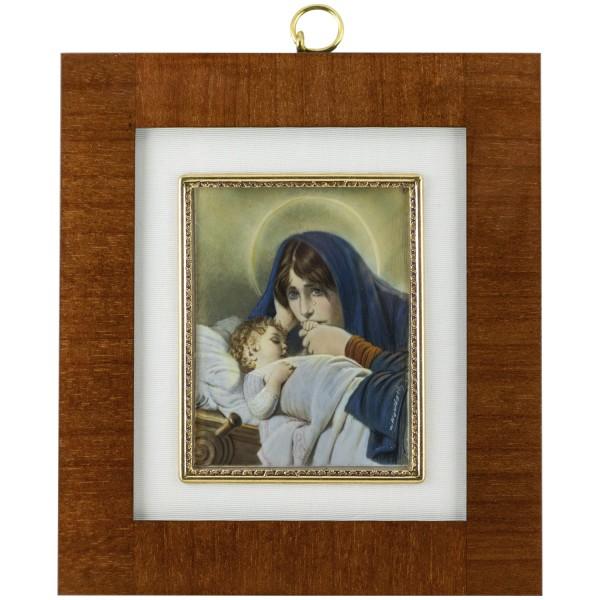 Miniatur-Rahmen mit Malerei Bildgröße 7x9 cm außen 14,5x16,5 cmMater Dolorosaa