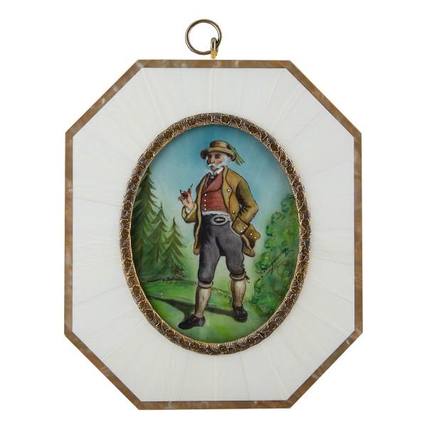 Miniatur-Rahmen mit Malerei Bildgröße 7x9 cm Teg. Herrentracht