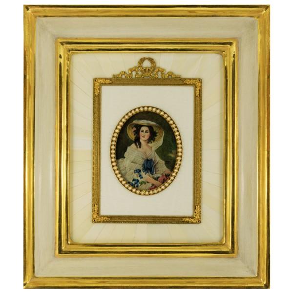 Miniatur-Rahmen mit Malerei Bildgröße 7x9 cm außen 24x29 cm