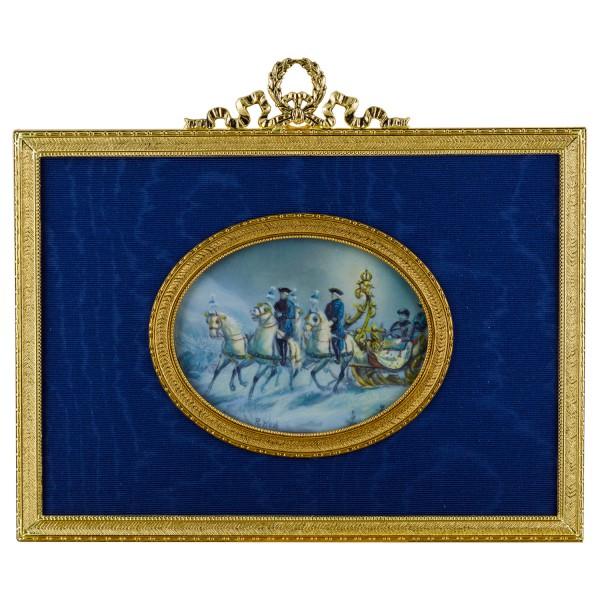 Miniatur-Rahmen mit Malerei Bildgröße 7x9cm auß.13x18