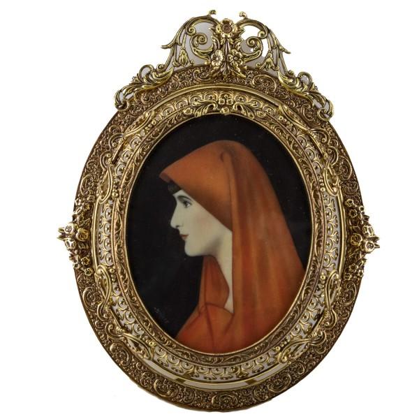 Miniatur-Rahmen mit Malerei Bildgröße 7x9 cm Außenmaß 11x14 cm Fabiola