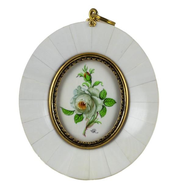 Miniatur-Rahmen mit Malerei Bildgröße 4x5 cm außen 8x9 cm weiße Rose