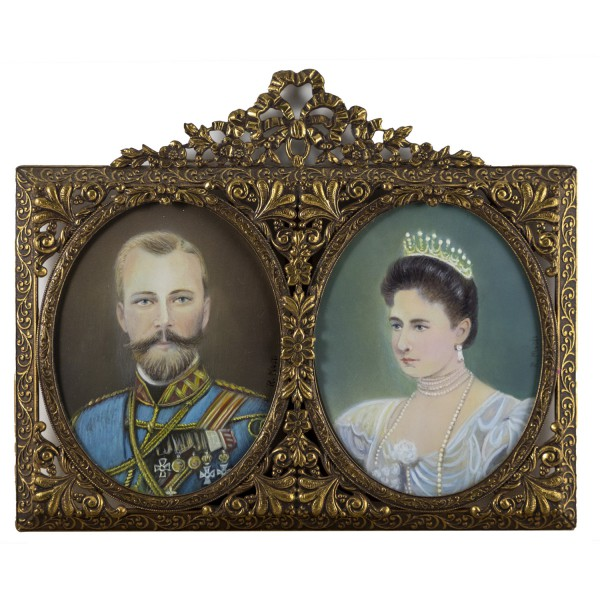 Miniatur-Rahmen mit Malerei Bildgröße 7x9 cm Zar Nikolaus II - Zarin A. Feodorovna