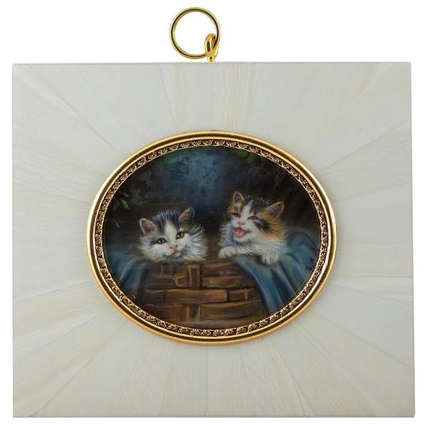 Miniatur-Rahmen mit Malerei Bildgröße 5x6 cm Katzen im Korb
