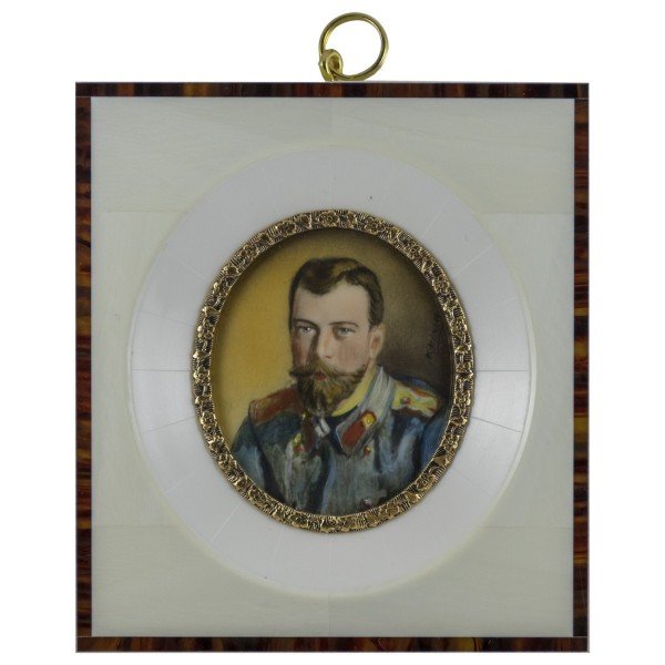 Miniatur-Rahmen mit Malerei Bildgröße 5x6 cm Außenmaß 10,5x11,5cm Zar Nikolaus II.
