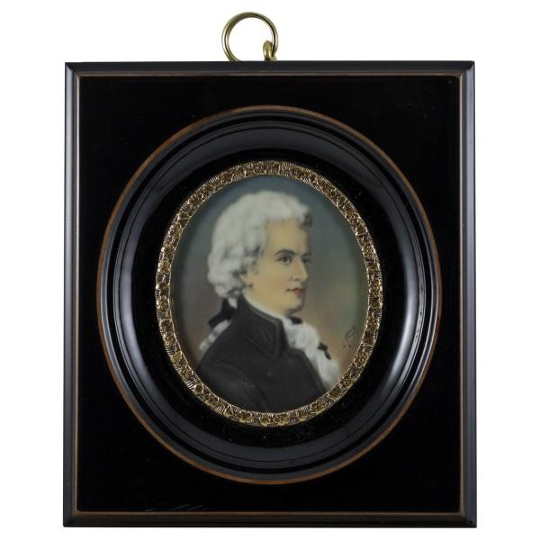 Miniatur-Rahmen mit Malerei Bildgröße 5x6 cm außen10x11cm W. A. Mozart