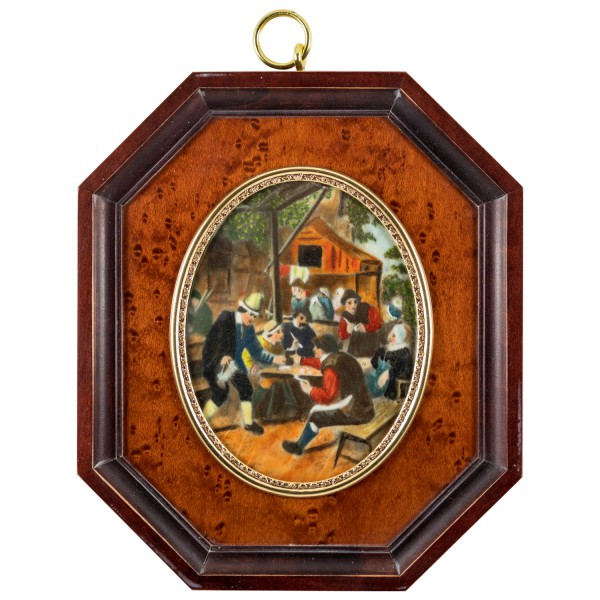Miniatur-Rahmen mit Malerei Bildgröße 7x9cm auß.14x12cm