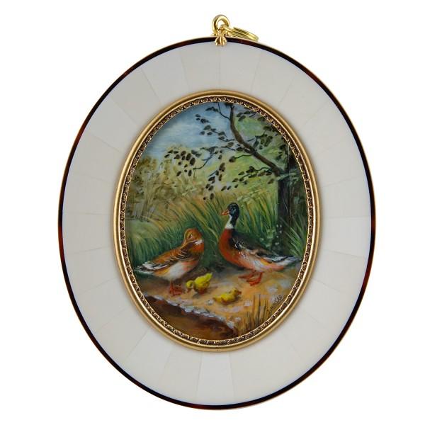 Miniatur-Rahmen mit Malerei Bildgröße 7x9 cm Enten