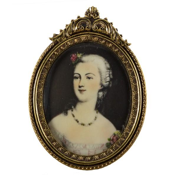 Miniatur-Rahmen mit Malerei Bildgröße 4x5 cm Mme.Dubarry