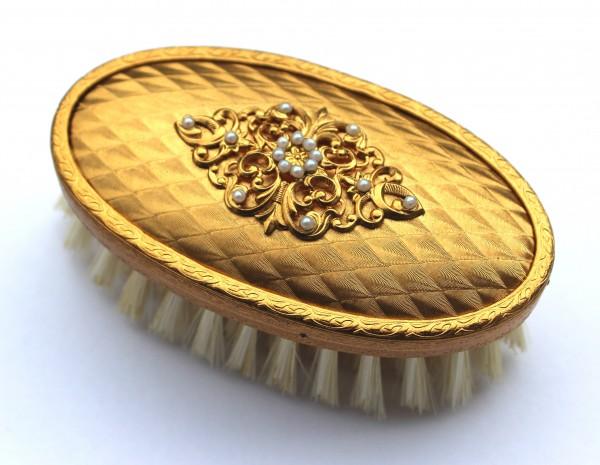 Kleiderbürste mit Bronze veredelt und verziert - Perlenaufsatz