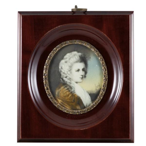 Miniatur-Rahmen mit Malerei Bildgröße 5x6 cm außen10x11cm Maria Isabella von Rutland
