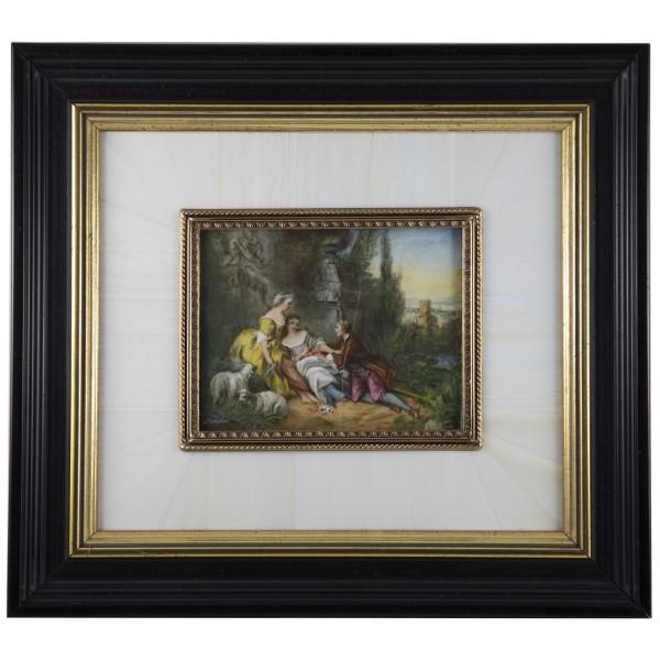 Miniatur-Rahmen mit Malerei Bildgröße 7x9 cm außen 17x20 cm leicht beschädigt