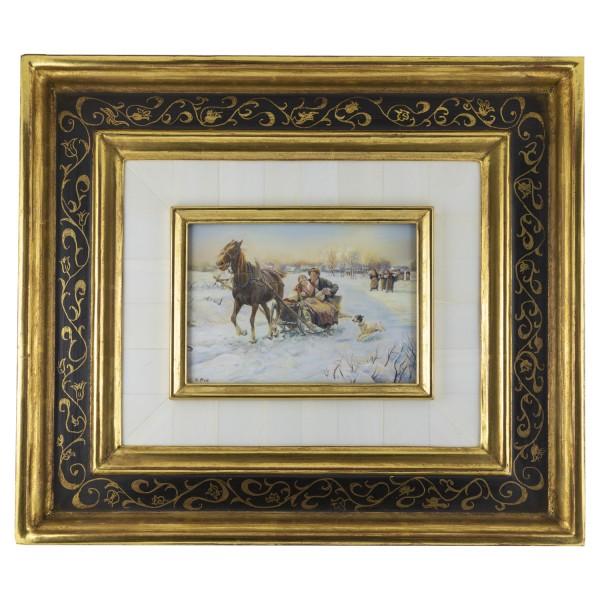 Miniatur-Rahmen mit Malerei Bildgröße 10x14 cm Heitere Schlittenfahrt