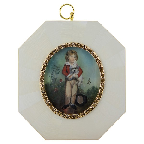 Miniatur-Rahmen mit Malerei Bildgröße 5x6 cm Junge mit Hündchen