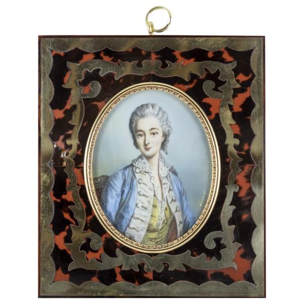 Miniatur-Rahmen mit Malerei Bildgröße 7x9 cm Außenmaß 14,5x12,5 cm Mme. Dubarry