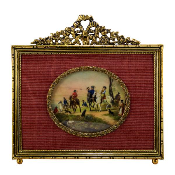 Miniatur-Rahmen mit Malerei Bildgröße 5x6 cm außen 11x12 cm