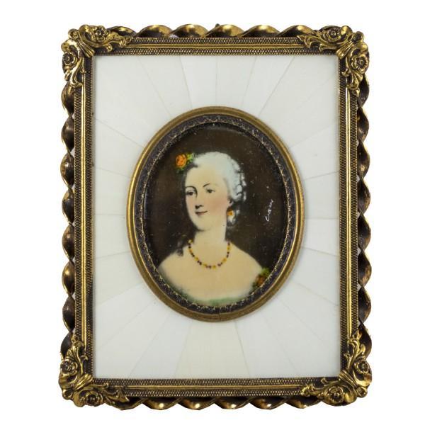 Miniatur-Rahmen mit Malerei Bildgröße 4x5 cm Mme. Dubarry