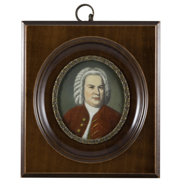 Miniatur-Rahmen mit Malerei Bildgröße 5x6 cm außen10x11cm Joh. Seb. Bach