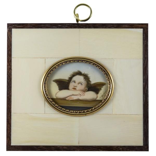 Miniatur-Rahmen mit Malerei Bildgröße 4x5 cm außen 9,5x10,5 cm Engel