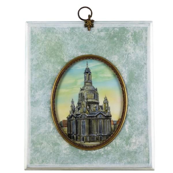Miniatur-Rahmen mit Malerei Bildgröße 7x9 cm Außenmaß 14x12 cm Frauenkirche in Dresden