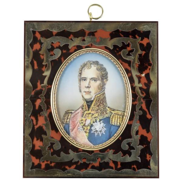Miniatur-Rahmen mit Malerei Bildgröße 7x9 cm Außenmaß 14,5x12,5 cm General Michel Ney