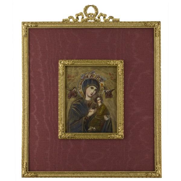 Miniatur-Rahmen mit Malerei Bildgröße 7x9 cm Außenmaß 17x22cm Ikonen-Malerei