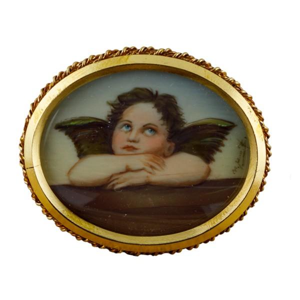 Miniatur-Rahmen mit Malerei Bildgröße 4x5cm auß.4x5cm