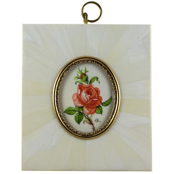 Miniatur-Rahmen mit Malerei Bildgröße 4x5 cm außen 8,5x9,5 cm Zinnoberrote Rose