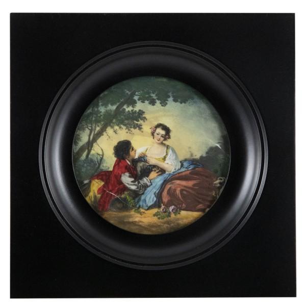 Miniatur-Rahmen mit Malerei Bildgröße 8 cm außen 13x13 cm leicht beschädigt