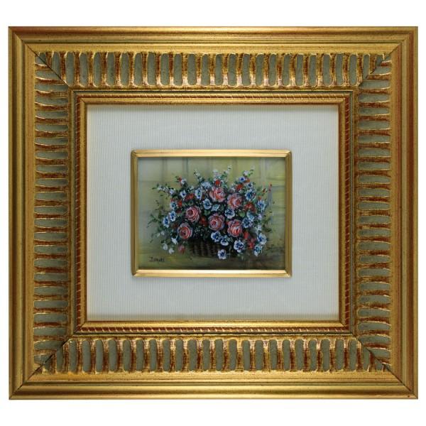 Miniatur-Rahmen mit Malerei Bildgröße 7x9 cm außen 21x23 cm